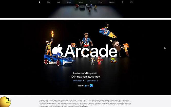 苹果游戏平台Arcade占领官网互动项目