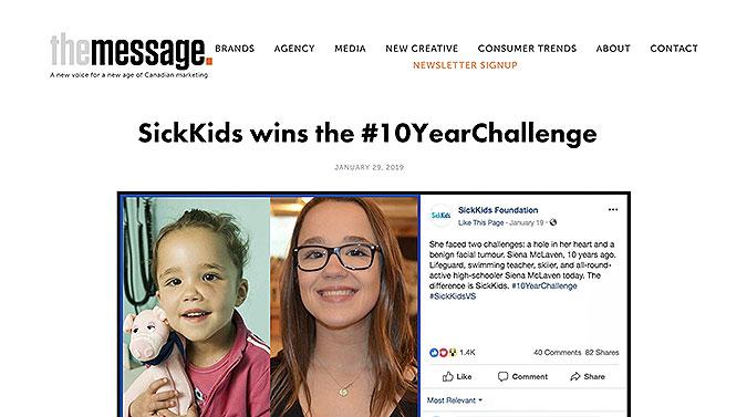 加拿大病童医院社交营销  10年对比挑战