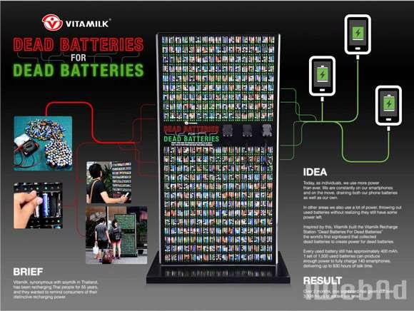 泰国饮料品牌Vitamilk户外装置 废旧电池正能量