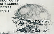 西班牙汉堡店Mad Grill创意活动 木炭绘制的户外广告