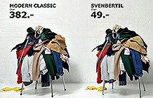 宜家广告 :反正椅子都用来放衣服,买便宜的吧